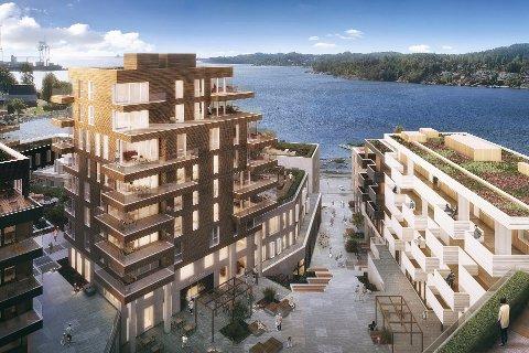 STORT: Første byggetrinn i Grandkvartalet får en byggetid på tre år, og kommer til å forvandle området ved og rundt nåværende Grand Hotell. Hele utbyggingen vil vare i fire-fem år. (Illustrasjon: Dark Arkitekter)