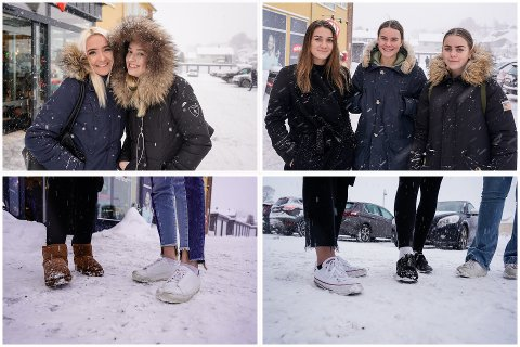 BARE ANKLER: Michelle Helle Myrvang, Synne Pedersen Øy, Sandra Acosta, Andrine Synnøve Smedsrud og Mathea Stenberg var alle sammen ute og gikk i snøværet. Noen var riktignok litt bedre skodd for vinteren enn andre.