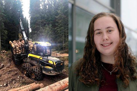 KJØRER SKOGSMASKINER: Julianne Birgitte Storfjell (18) frakter tømmer med en lastbærer, og sier hun stortrives med å være i skogen.
