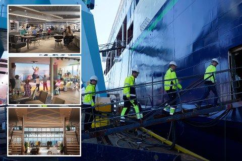 NÆRMER SEG ÅPNING: 26. juli går jomfruturen for verdens største plugin hybrid skip M/S Color Hybrid fra Sandefjord til Strømstad. Disse illustrasjonsbildene viser hvordan deler av båtens innside skal bli seende ut.