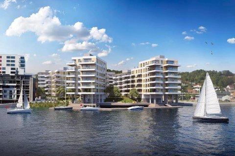 NYE KILEN BRYGGE: Leilighetsprosjektet består totalt av syv bygg med 136 leiligheter fordelt på to byggetrinn. (Illustrasjon: Arcasa Arkitekter AS)