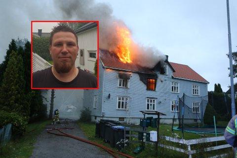 REDNINGSMANN: Krzysztof Radzik (innfelt) fant en stige hos naboen og klatret opp for å redde en mann ut ifra det brennende huset.