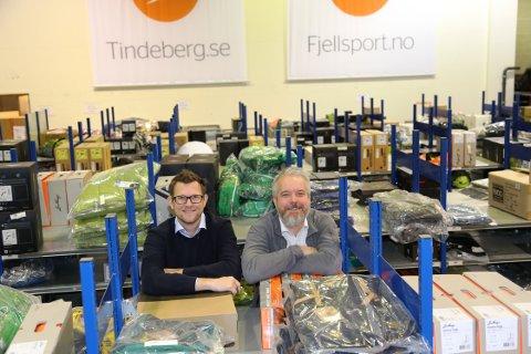ENORM PÅGANG: Stian Moldvær Larsen (til venstre) i Fjellsport forteller at de omsatte for 700 millioner kroner i 2020.