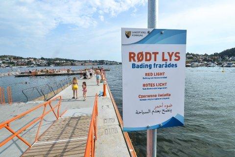 RØDT LYS: En feil førte til at kloakk havnet i vannet i august i år. Arkivfoto: Paal Even Nygaard