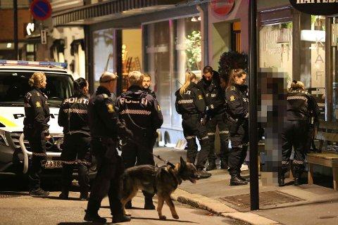 LØRDAG: Store politistyrker har aksjonert i Sandefjord sentrum etter et masseslagsmål som endte med knivstikking lørdag kveld.