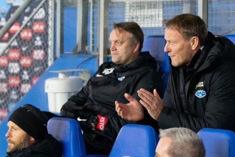 TAKKET NEI: Trond Strande (t.h) blir ikke ny SF-trener. Moldenseren har signert ny kontrakt med Molde.