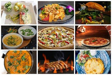 GOD VARIASJON: 19 serveringssteder tilbyr til sammen 40 ulike retter som hver bare koster hundre kroner. Her ser du noen av dem.