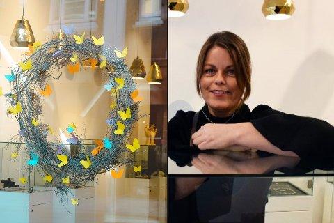SOMMERFUGLER I VINDUENE: SmykkedesignerenInger Lise Sophia Brand Skarsbakk, som driver sentrumsbutikken Sophia Brand, forteller hvordan sommerfuglene symboliserer håp og transformasjon.