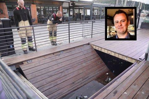 I VANNET: Den ansatte falt i vannet da denne lemmen sviktet. Det går bra med ham, sier daglig leder på Pir 4, Peter Nordberg.