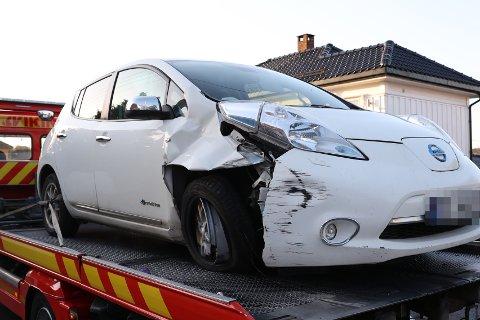 Bilen var ikke kjørbar etter uhellet.