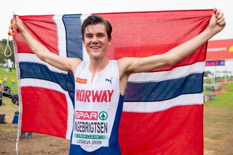 TERRENG-EM: Jakob Ingebrigtsen løp seg nylig til topps i Lisboa under U20 EM i terrengløp.
