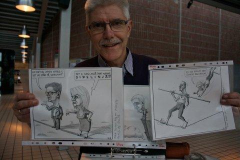 Sandnespostens tegner, Otto Vålandsmyr, har rundt 50 tegninger fra det siste året i permen. Tirsdag og onsdag selger ham dem til inntekt for byprestene.