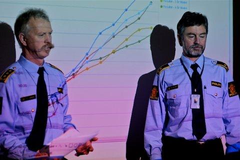 UTFORDRINGER: Sandnespolitiet har hatt nedgang på flere felt i 2011. Likevel finnes det områder fungerende politistasjonssjef Bjart R. Larssen og etterforskningsleder Magnar Hetland vil se nærmere på i år.