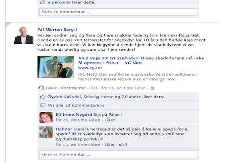 [b]Språkdebatt:[/b] Er det greit å kalle andre mennesker for skadedyr? Ordet har skapt debatt på Facebook-profilen til varaordfører, Pål Morten Borgli i etterkant av en uttalelse fra venstrepolitikeren Abid Raja.