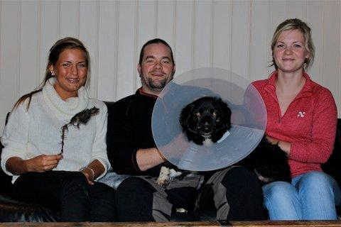 RABALDER: Lotte, Paal og Rose Refsland er glade for at hunden Balder kom hjem igjen. Les Balders historie i Sandnespostens papirutgave.