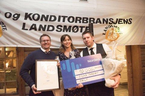 ELDA BAKERI: Fra venstre: Mattias Skoglund, Charlotte Hansen og Thorbjørn Hansen kunne slippe jubelen løs onsdag kveld.