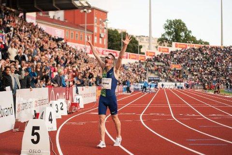 Henrik Ingebrigtsen jubler på Bislett. Det gjorde han også i Belgia lørdag over ny personlig rekord på 5000 meter.