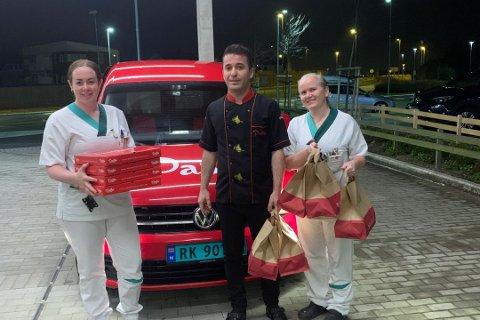 Mehmet Karabulut fra restauranten Pasha i Stavanger, overrasket både ansatte ved legevakten og på Åse boas med mat.