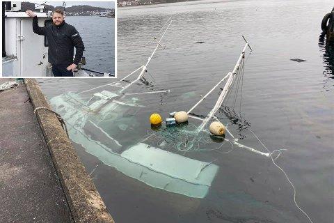 UHELDIG: Rune Petersen ble lei av å være rørlegger og satset friskt som fisker med egen sjark og rullende salgsvogn. Sist uke lå båten på bunn av Gandsfjorden på Norestraen.