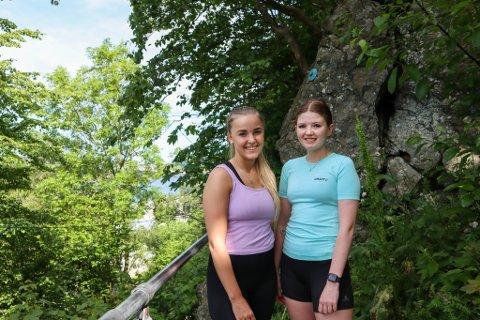 Veronica Haarr (20) og Henriette Bratland (21) trener gjerne i Hantrappene flere ganger i uken.