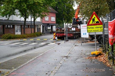 STENGES: Langgata nord blir stengt for gjennomgangstrafikk de neste månedene. Kolumbus frykter negative konsekvenser for busstilbudet.