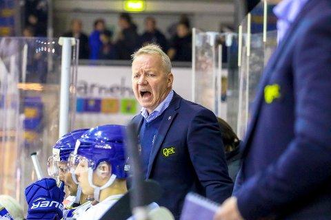 TO IGJEN: Det er mye Spartatrener Lenny Eriksson ønsker å se under kampen mot Storhamar. FOTO: Thomas Andersen