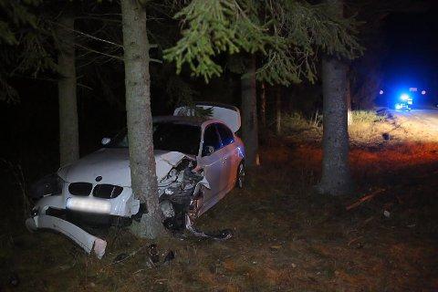 En bil kjørte av Rokkeveien etter et møte med et rådyr.