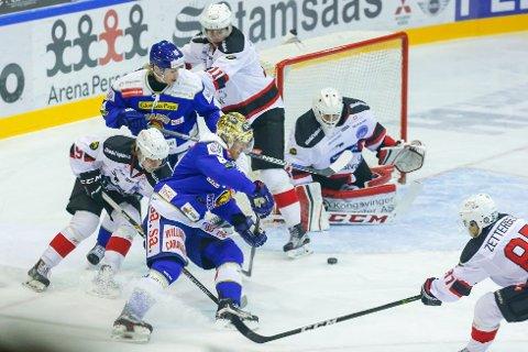 Sparta beseiret Kongsvinger med sifrene 6-1 på bortebane lørdag. Dette bildet er fra kampen mellom de to lagene i Sarpsborg i november i fjor. (Foto: Thomas Andersen)