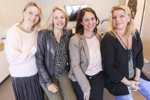 Ber inn til kurs: Mona-Elise Moan (fra venstre), Hilde Sørlie, Anne Sofie Tømmerås og Grete Elise Dahlen Fjellgaard i skriveforeningen Skribentene.foto: lars weberg