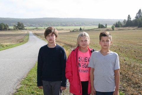 SKADET PÅ BUSSEN: Oliver Olseng (10), Emma Olseng (11) og Ulrik Olsen (11) ble alle skadet da skolebussen bråbremset utenfor Hornnes skole onsdag morgen. Verst gikk det utover Oliver som fikk tre løse tenner.