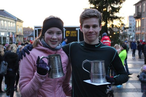 VANT: Maiken Prøitz (14) og Trym Tønnesen (18) var beste jente og gutt under Nyttårsløpet 2018.