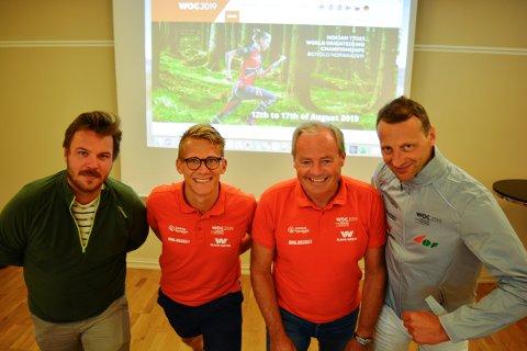 GLEDER SEG: Kommunikasjonssjef Martin Nielsen (fra venstre), frivilligsjef Svend Sondre Frøshaug, adm.dir. Per Bergerud og mediesjef Claes-Tommy Herland i WOC 2019 gleder seg til VM.