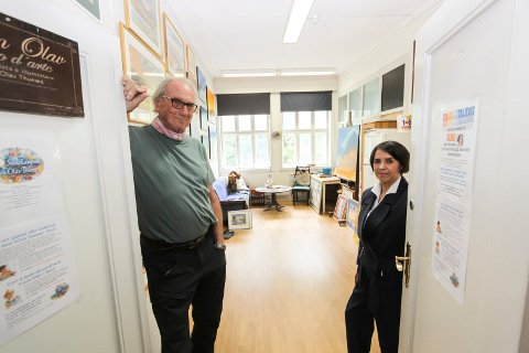 På plass i Sarpsborg: Svein Olav Thunæs og Silvia Susana Campaña i sitt nye atelier i A-porten kunsthus i Borregaardsbakken.
