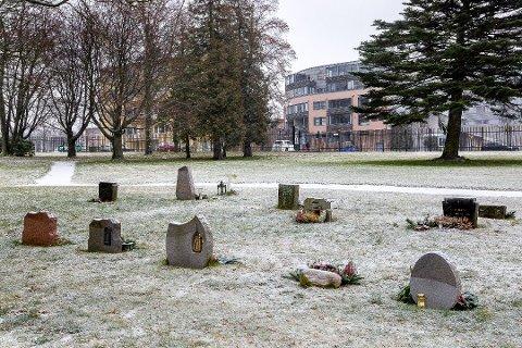 Finn Andersen og Åge Langeland mener at nedbyggingen av St. Olavs gravlund må stoppes. (Foto: Johnny Helgesen)