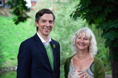 Kristoffer Robin Haug, stortingskandidat for MDG i Akershus, og Benedicte Lund, stortingskandidat for MDG i Østfold. (Foto: Sveinung Arnestad, MDG)