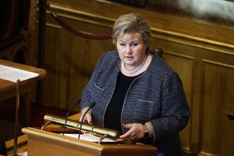 Statsminister Erna Solberg redegjør for Stortinget om regjeringens  håndteringen av koronapandemien.