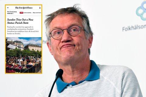 Artikkelen i New York Times tar også for seg statsepidemiolog Anders Tegnell, som tidligere har karakterisert kritikken mot Sverige som «en internasjonal kampanje» og «stigmatiserende». Montasje: NY Times/Fredrik Sandberg / TT via AP