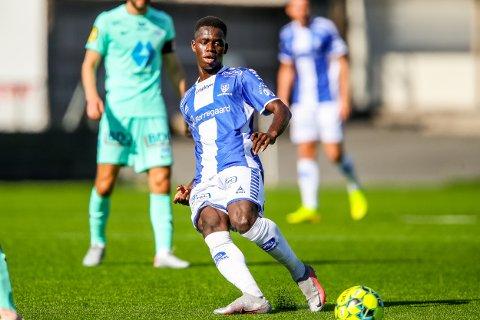 Sarpsborg 08s Ismael Coulibaly i kampen mellom Sarpsborg 08 og Molde.  Foto: Thomas Andersen
