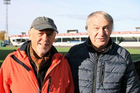 FLOTT TILBUD: Pensjonistene Hans Otto Rynning og Thorbjørn Olsen (begge 75 år) håper at flere av kommunens pensjonister møter opp til fotballfest på stadion når Vålerenga kommer på besøk.