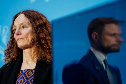 Direktør i Folkehelseinstituttet Camilla Stoltenberg under en pressekonferanse om koronasituasjonen.