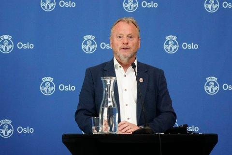 Byrådsleder Raymond Johansen orienterer om koronasituasjonen og mulige lettelser på restriksjonene i Oslo.