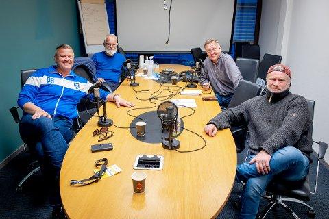 """Bjørn Inge """"Bingen"""" Nilsen (f.v), Øistein Veberg, Petter Kalnes og Svend René Nygaard kunne endelig smile for tre poeng til Sarpsborg 08."""