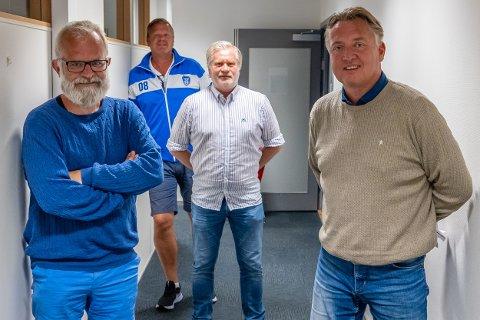"""Øistein Veberg (f.v), Bjørn Inge """"Bingen"""" Nilsen, Svend Rene Nygaard og Petter Kalnes er ute med ny podkast etter kampen mot Brann"""