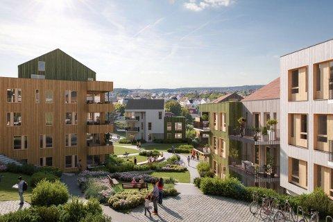 Boligprosjektet Fagerlia skal oppføres mellom Fagerliveien og skråningen mot Kringsjå. Her er en illustrasjon fra området.