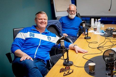"""Bjørn Inge """"Bingen"""" Nilsen (t.v) og Øisten Veberg var to glade menn etter Sarpsborg 08s seier over Rosenborg."""