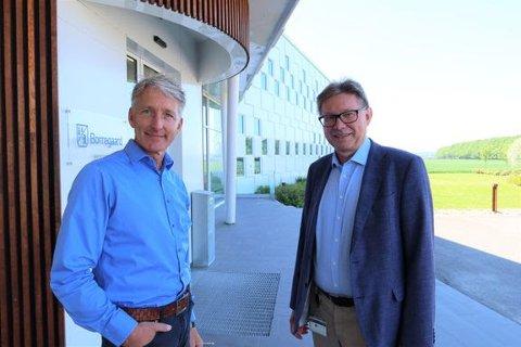 Administrerende direktør i Østfold Energi Oddmund Kroken og administrerende direktør for Borregaard Per Arthur Sørlie.