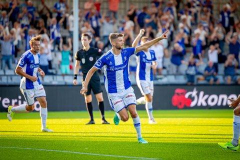 JUBEL: Anton Salétros jubler for 1-0-scoringen i kampen mot Bodø/Glimt lørdag kveld..