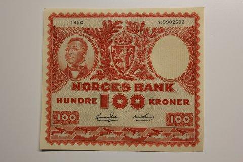 Portrettet av Henrik Wergeland pryder vinnerseddelen på framsiden.