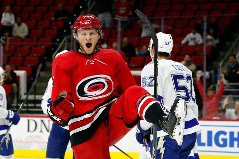 Carolina Hurricanes' Steven Lorentz (78) celebrates his goal against the Tampa Bay Lightning during the second period of an NHL preseason hockey game, in Raleigh, N.C, Wednesday, Sept. 18, 2019, (AP Photo/Karl B DeBlaker)