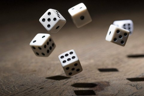 Let the game begin. Dice in mid air